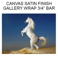 Canvas Satin Finish  Gallery Wrapped on 3/4 inch Bars  (Inches)