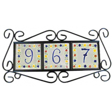 Black Wrought Iron Hanging Frame, Printed Tiles included